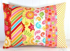 Throw Pillow Cover, Nursery Cushion Cover, Playroom Pillow Cover, Decorative, Red Yellow Pink Birds Flowers, 12 x 16 Inches, Hello Sunshine