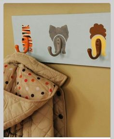 DIY coat rack. Good idea to have a child one for their height. And an adult.one