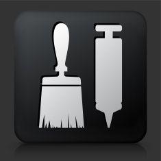 Black Square Button with Brush & Glue Gun vector art illustration