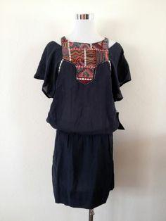 NWT ZARA EMBROIDERED BIB FRONT DRESS BLACK SIZE S