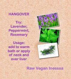 Have You Ever Had A Hangover? The best natural cure for a hangover remedy for those who drink!  Try: doTERRA essential oils Lavender, Peppermint, Rosemary  Usage:  add to warm bath or apply  of neck and over liver