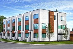Parcside Townhomes - Modern - Exterior - Calgary - by Inertia Corporation Row House Design, Duplex Design, Building Exterior, Building Facade, Townhouse Exterior, Sims, Property Design, Exterior Cladding, Facade Architecture