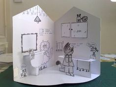 idea for easy paper doll play house (Pop Up by Nicoletta Costa) cool idea - change theme to garden maybe? Paper Doll House, Paper Houses, Paper Dolls, Arte Pop Up, Pop Up Art, Pop Up Play, Casa Pop, Art For Kids, Crafts For Kids