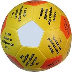 The Personal Strengths Thumball is a soft, stuffed ball to throw, roll, or pass in a circle or randomly. Catch it! Look under your thumb. Respond to the prompt. Kids absolutely love this interactive t