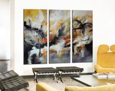 Abstract original painting Black Red blue Art black abstract