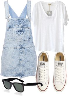 Outfit inspired by Lou T. and Harry :) Untitled #5314 by florencia95 featuring a white linen shirt PullBear blue pinafore dress, $20 / American Vintage white linen shirt / Converse flat shoes, $70 / Ray-Ban ray ban sunglasses