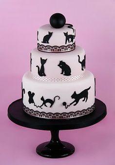 Cat Lover cake!  Black Cat silhouettes.