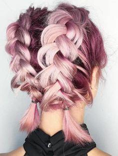 tresse-epi-sur-de-cheveux-mi-long-coiffure-laché-couleur-cheveux-rose-et-framboise-coiffure-fille-moderne-et-originale