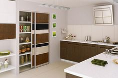 Kitchen sliding doors with dark walnut, black glass and beige glass panels. This door has an anodised silver aluminium which is suitable for moist areas.