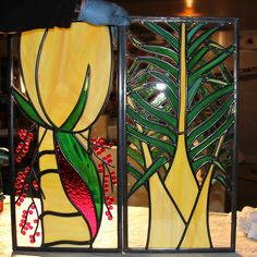Kiwi designed stained glass window- the top tow out of three to go by our front ddor-  we deigned and made it for our new home- the classic Nikau Palm