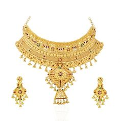22 Kt Gold Bridal Necklace and Earing Sets - gold bridal Necklace and Earings sets (Indian Bridal Jewelry Sets) from classic to contemporary designs. Must for every Indian Bride, Sets are usually long and more elaborate than the other sets. Indian Bridal Jewelry Sets, Wedding Jewelry, Wedding Gold, Antique Necklace, Gold Necklace, Stone Necklace, Chocker Necklace, Chokers, Gold Jewellery Design