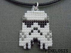 Handmade Seed Bead Pixelated Stormtrooper Necklace  от Pixelosis