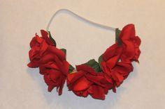 Red rose Floral crown headband #flowercrown beautiful flower crown headband wedding floral crown