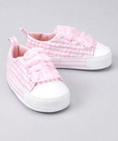 Look at this Light Pink Gingham Sneaker by Gerber Childrenswear Cute Baby Shoes, Baby Girl Shoes, Pink Gingham, Gingham Check, Pink Stripes, Baby Sneakers, Baby Steps, Everything Pink, Baby Feet