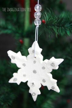 Christmas Crafts : Illustration Description White Clay Snowflake Ornaments - The Imagination Tree Christmas Decorations Diy For Kids, Diy Christmas Snowflakes, Snowflake Craft, Snowflake Decorations, Snowflake Ornaments, Christmas Activities, Winter Christmas, Holiday Crafts, Christmas Holidays