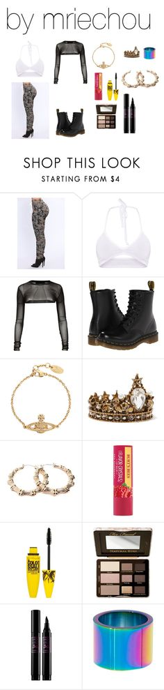 """""""Untitled #578"""" by mriechou ❤ liked on Polyvore featuring Dr. Martens, Vivienne Westwood, Alexander McQueen, Forever 21, Maybelline, Too Faced Cosmetics, Lancôme and Trina Turk"""