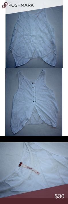 """Free People """"Ethereal Daze"""" sheer panel tank Envelope tank with a wide crew neck, back button closure, sheer mesh front detail, and a high/low hem. Pair with a bralette! Never been worn, new condition! Free People Tops"""