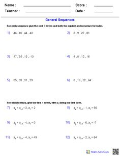 Printables Sequences And Series Worksheets sequences and series worksheets algebra 2 math aids these generators allow you to produce unlimited numbers of dynamically created worksheets