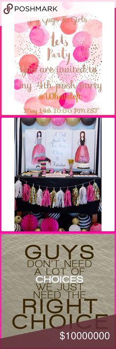 PARTY! Monday 5/14/18 10:00pm EST 7:00 pm PST! 🌸I am so happy to be hosting again! Please pass the word for me! I only ask please do not send items to my dressing room! Just tag me and I will respond! I cannot wait to start going through your fabulous closets! 🎉 Other Accessories