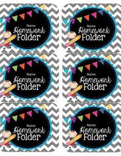 Editable Homework Folder Labels