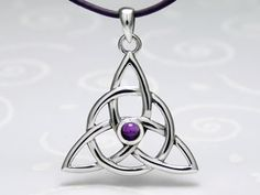 Sterling Silver Celtic Triquetra Knot Pendant with Amethyst