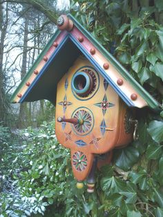coloured bird house