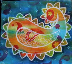 """""""Painted Threads"""" (tutorial by Judy Coates Perez)  """"One fun little technique I found works great with acrylic inks (this would also work with Tsukineko inks) is to draw on fabric with a colored pencil or china marker and paint over it like a simple resist.  Kind of like in grammar school when you colored with crayons and painted india ink over the top..."""""""