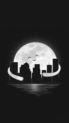Moon hugging the city ❤