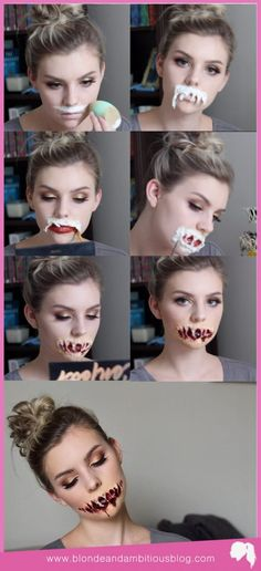 RIPPED OPEN MOUTH TUTORIAL | halloween tutorial, special effects, special effects tutorial, ripped mouth tutorial, ripped up mouth tutorial, zombie tutorial, zombie makeup