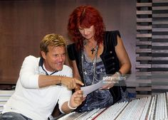 Singer Andrea Berg and Producer Dieter Bohlen talk during the recording of Andrea Berg's new album at a record studio on August 2, 2011 in Handeloh near Hamburg.