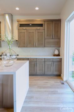Natural wood kitchen cabinetry