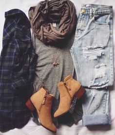 Dark Flannel / Tan Brown Shirt / Light Blue Distressed Jeans / Brown Scarf / Light Brown Boots