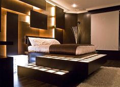 If you love soft illumination and hate to sacrifice privacy, this bedroom interior has a brilliant combination of strategies from uplighting around the bed | Visit http://www.suomenlvis.fi/