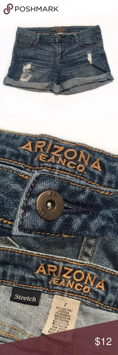 """ARIZONA JEANS Denim Cuff Jean shorts ARIZONA JEAN CO. Denim Stretch Cuff leg Jean shorts!   • Size: 7 Juniors  • Features distressed accents!  • Style: Rolled cuff legs • Made with Stretch Denim  • Zip fly and 1-button closure  • 5 pockets, Pointed back pocket design! • Material: Cotton & Spandex  • Waist: 16""""    Rise: 7""""    Inseam: 2.5"""" (with Rolled leg) Arizona Jean Company Shorts Jean Shorts"""