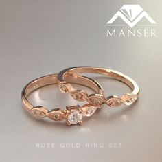Rose gold and diamond engagement ring with matching wedding band.