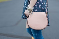 The perfect blush crossbody saddle bag for spring!