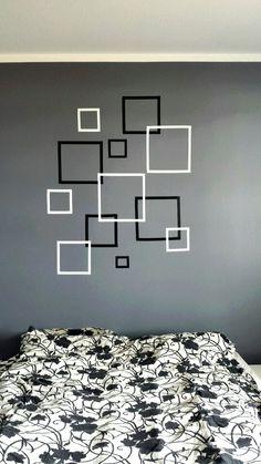 Easy and cool :) - Rakel Garðarsdóttir Wall Painting Living Room, Wall Painting Decor, Room Paint, Bedroom Wall Designs, Wall Decor Design, Diy Room Decor, Bedroom Decor, Tape Wall Art, Geometric Wall Paint