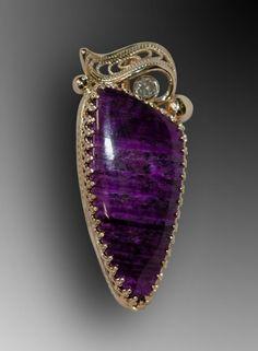 Sugilite, diamond, and gold finished pendant Modern Jewelry, Fine Jewelry, Jewellery, Gemstone Jewelry, Silver Jewelry, Antique Jewelry, Vintage Jewelry, Minerals And Gemstones, Silver Filigree