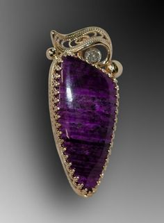 Sugilite, diamond, and 14K gold finished pendant
