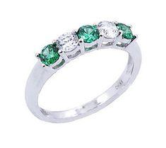 Diamonique & Simulated Emerald Band Ring, Platinum Clad