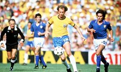 Roberto Falcão (Brazil) is chased by Bruno Conti (Italy) in the defining match of the 1982 World Cup