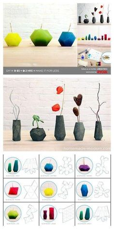 DIY Geometric Candles or Concrete Vases Tutorial and Templates from HomeMade Modern here. DIY Geometric Candles or Concrete Vases Tutorial and Templates from HomeMade Modern here. Concrete Crafts, Concrete Art, Concrete Projects, Diy Projects, Diy Tumblr, Homemade Modern, Diy And Crafts, Paper Crafts, Diy Paper