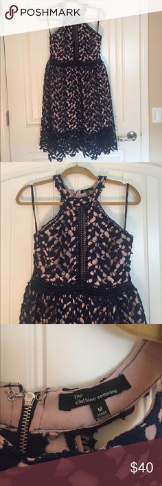 The clothing company navy dress - medium Beautiful lace navy dress! Worn once. Great for a wedding or cocktail party. 36 inches from neckline to hem. Dresses Midi