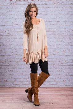 """""""Ruffle Delight Top, Latte"""" We couldn't be happier about showing you this top! You loved the tank that had the same adorably ruffled hemline!! So, of course we had to find it with long sleeves! #Newarrivals #shopthemint"""