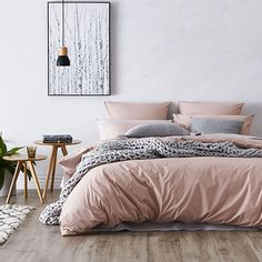 Stonewashed Cotton Quilt Cover Dusty Pink