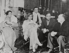 On the set of 'My Man Godfrey,' 1936. Alice Brady, Carole Lombard, Mischa Auer, William Powell, and director Gregory La Cava.
