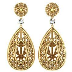 Sayaka Yamamoto & Sparkles Diamond Gold Earrings | See more rare vintage Drop Earrings at https://www.1stdibs.com/jewelry/earrings/drop-earrings