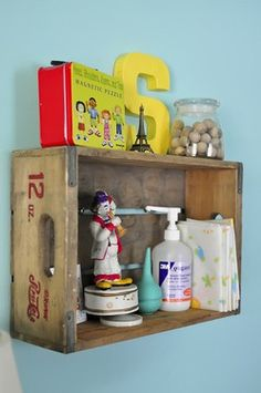 Love the vintage coke crate as a shelving solution over the changing table/dresser. Crate Shelves, Crate Storage, Box Shelves, Wall Shelves, Coke Crate Ideas, Nursery Twins, Nursery Ideas, Room Ideas, Decor Ideas