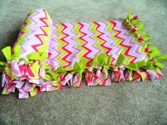 Pink & Green Chevron Anti-Pill No-Sew Fleece by HandmadeByErinn