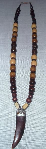 Men's wood necklace with decorative ox bone tooth by sweetiebel, $26.50